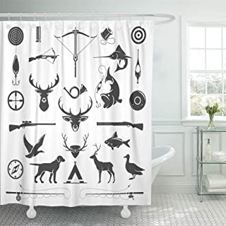 Emvency Shower Curtain Set with Hooks Polyester Fabric Waterproof Adjustable Hunting and Fishing Vintage Deer Head Hunter Weapons Forest Wild Animals 60 x 72 Inches for Bathroom