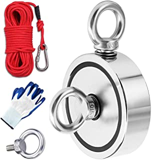 MEIXI Double Faces Aimant Néodyme Puissant avec 20m de corde et une paire de gants, Diamètre 94mm,Combiné 816Kg Extrêmemen...
