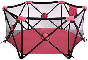 MWPO Playpen Indoor Playground Portable Infant Anti-Fall Fence Safety Household Activity Protection Activity Center Crawl with Cushion 135x75cm  Pink