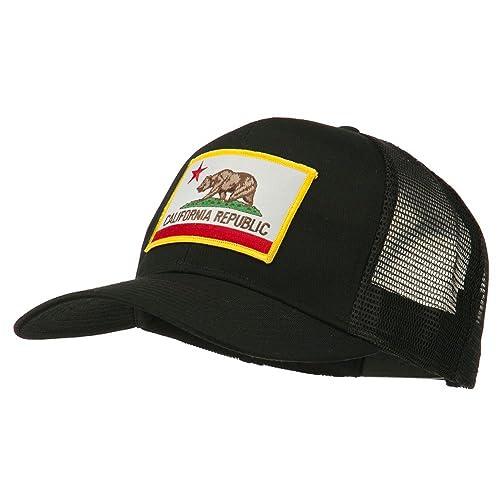 c8fbd91b61e e4Hats.com California State Flag Patched Twill Mesh Cap - Black OSFM