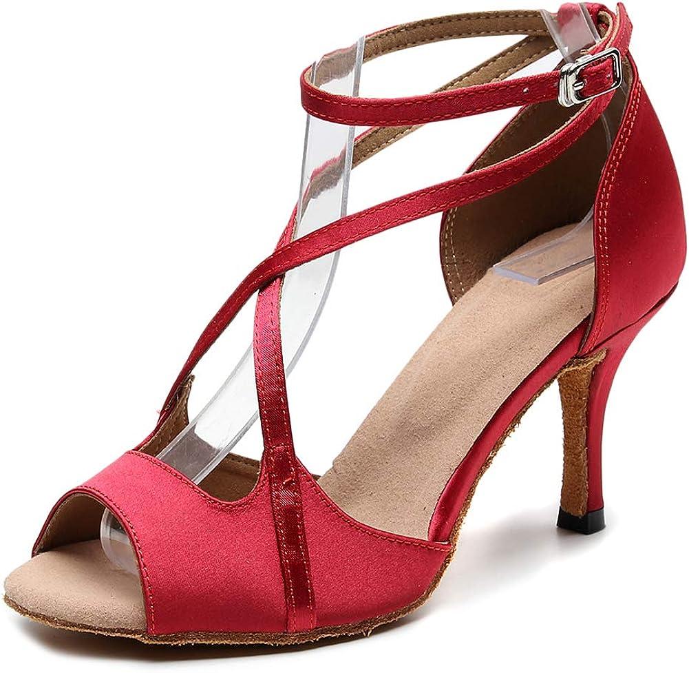 SWDZM Women's Latin Dance Shoes Peep Toe Ballroom Salsa Practice Party Wedding Dancing Sandals,Model-QJW1030