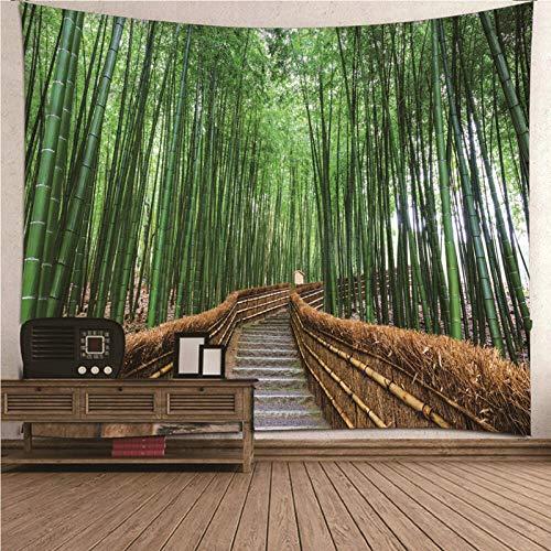 Kihomedy Tapisserie Murale Chambre, Sentier De La Forêt De Bambous Marron Vert Tenture Tapisserie Tenture Murale Décoration pour Chambre Salon 200X200Cm