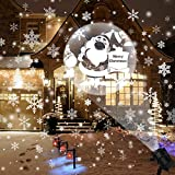 Christmas Projector Lights Outdoor Rotating Snowflake LED Christmas Lights, Waterproof Projector Decorating Stage Light Outdoor Snowfall Holiday Party Garden Landscape Lamp, White