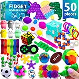 (50 Pcs) Fidget Poppers Popit Toy Pack Push Pop Bubble Popping Set It Mini Poppet Figit Package Figetget Spinners, Infinity Rubiks Cube Stress Relief Balls w Sensory Toys for Autistic ADHD Kids Girls