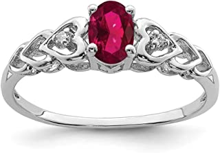 925 Sterling Silver Created Red Ruby Diamond Band Ring Birthstone July Gemstone Set Fine Jewelry For Women Gift Set
