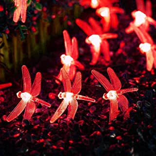 YXZQ Solar Dragonfly Lights, 16ft 20 LED Solar Outdoor Dragonfly Lights Waterproof for Garden,Yard, Path, Fence, Stairs, B...