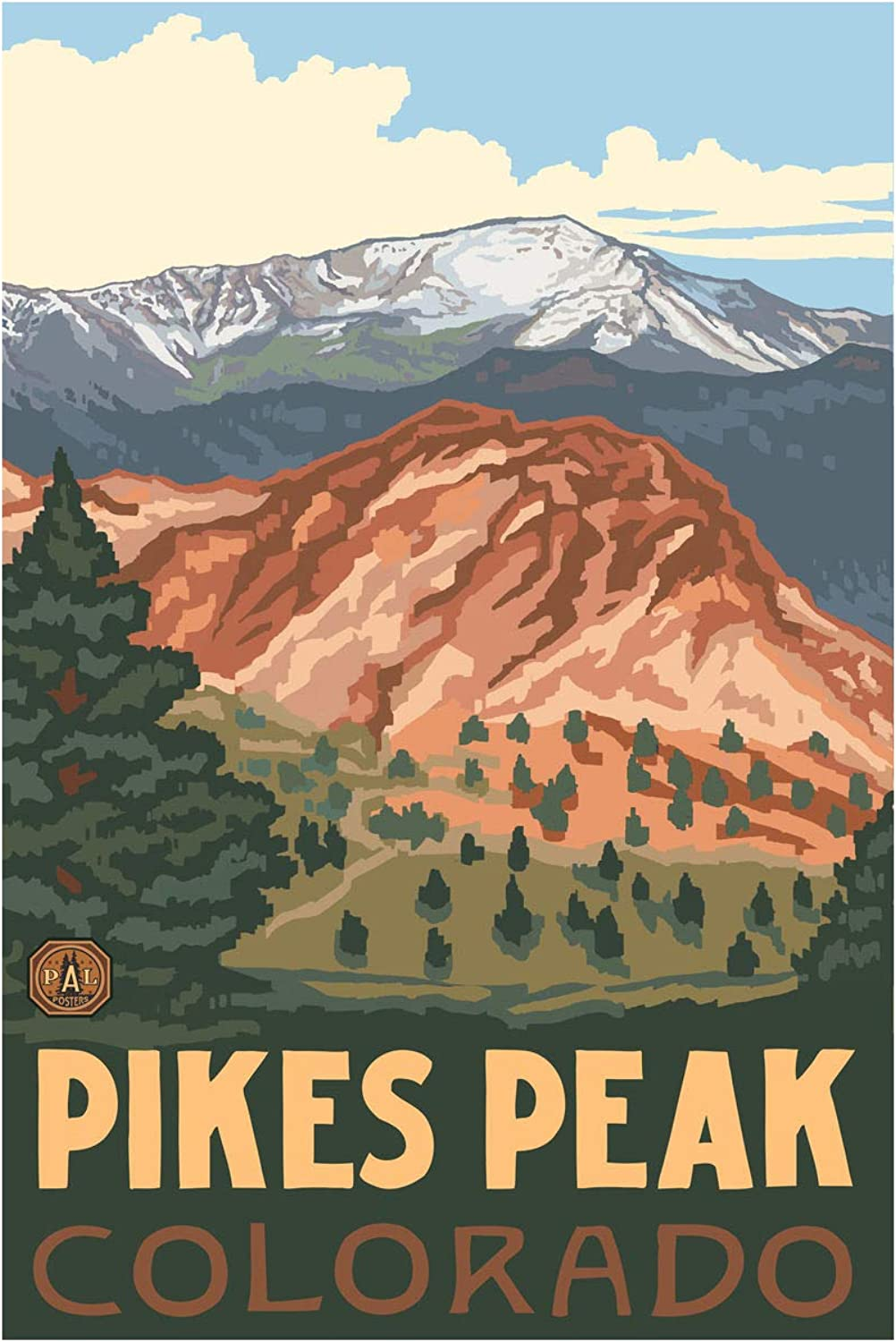 Pikes Peak colorado Travel Art Print Poster by Paul A. Lanquist (24  x 36 )