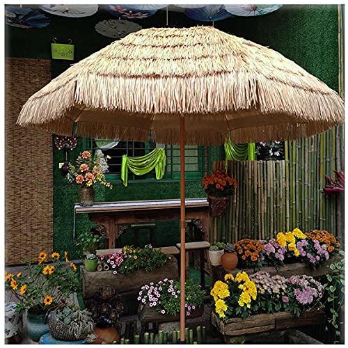 Homfure Ombrello Portatile Impermeabile Rotondo in Paglia,Ombrellone Hawaiano con Tetto in Paglia, Ombrellone Inclinabile,Ombrellone da Giardino All aperto per Terrazza,Campeggio,Spiaggia