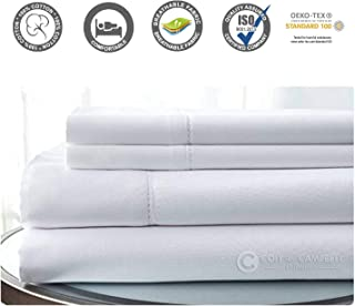 500 Thread Count 100% Cotton Sheet Set (White, Full) 4 Pieces Sheet Set. Long Staple Combed Pure Natural Cotton Bedsheet, Soft & Silky Sateen Weave