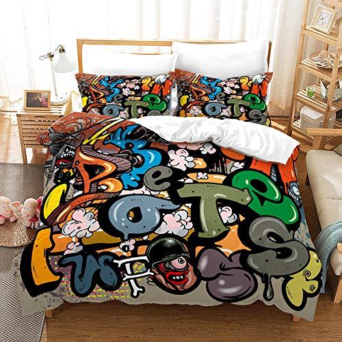 Bedclothes-Blanket Funda nórdica 3D Lila,3D de impresión de Tres Piezas Conjuntos de Almohada Conjuntos de Almohada Hip Hop Tenden Graffiti-Seducir_200 * 225cm