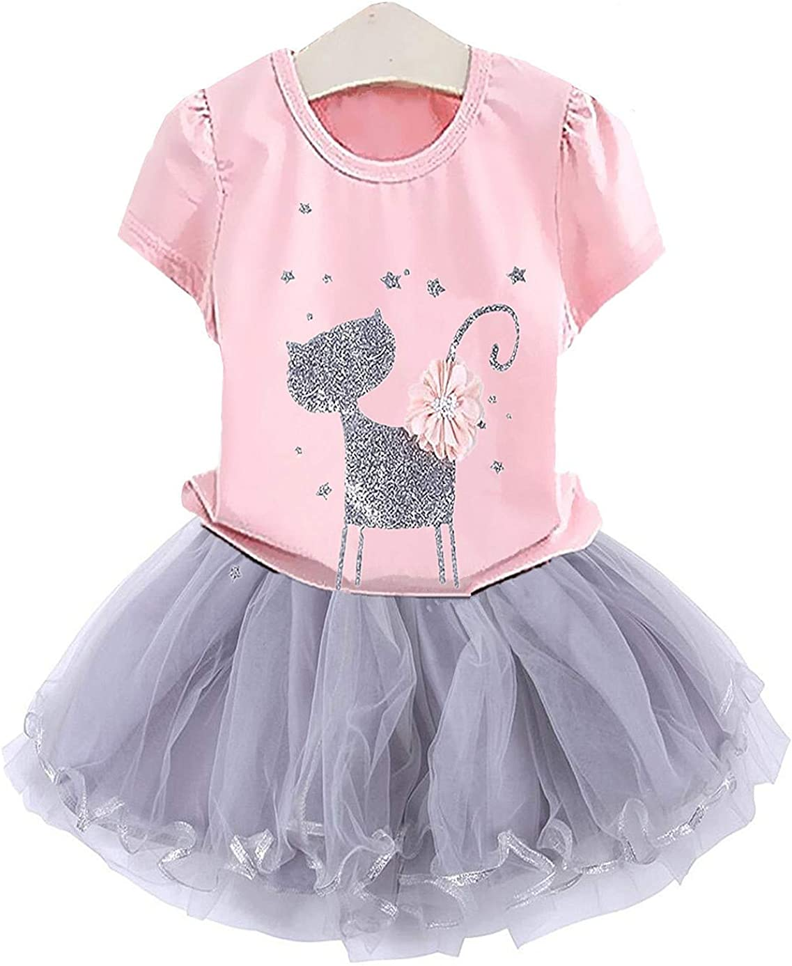 2Bunnies Girl Cat 3D Sequin Bow Sparkle Tutu Butterfly Tulle Skirt Dress Sets
