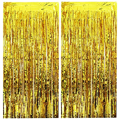 Jielucix 2 PCS Foil Curtain Tinsel Curtains 1 x 2.5 m / 3.3 x 8.2 ft Streamers for Birthday and Party Decorations (Gold)