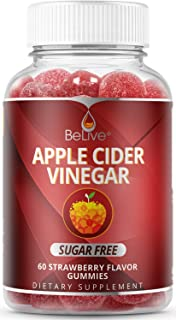 First Sugar-Free Apple Cider Vinegar Gummies with Unfiltered Mother Enzyme and Healthy Erythritol Sweetener- Helps with Detox, Cleanse & Bloating Relief for Women, Men, and Kids - 60 Count
