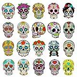 Qpout 20 piezas Tatuajes Temporales de calavera para niños, calavera de azúcar tatuaje adhesivo impermeable para el día de los muertos, regalos para fiestas de Halloween, decoración para niños y niñas