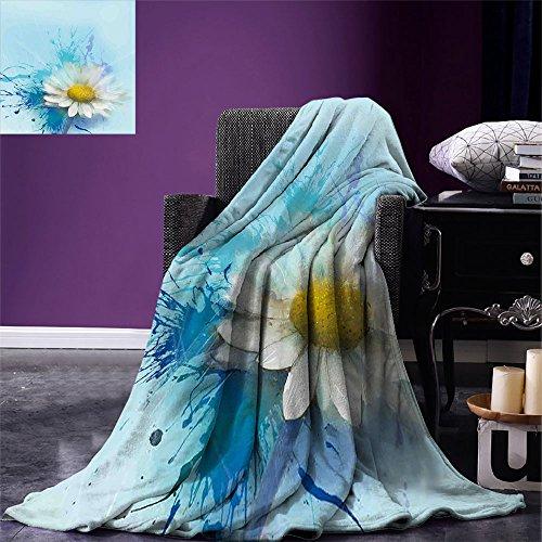 Luoiaax Manta de impresión Digital de Flores, Pintura al óleo, patrón de manzanilla con Salpicaduras en el Fondo, Imagen de expresión Pastoral, Colcha de Verano, Blanco y Azul