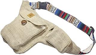 Natural Hemp Fanny Pack - Comfortable Hip Waist Bag with Adjustable Belt - Men & Women Money Bum Bags for Festivals, Travel & Hiking - Handmade Hippie/Sling/Boho/Stripped Drop Leg Fanny Packs