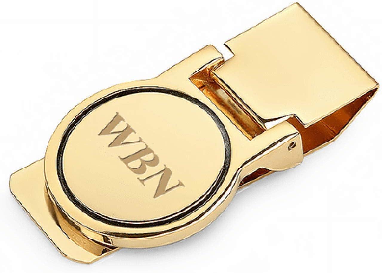Executive Gift Shoppe   Polished Gold Round Face Engraved Hinged Money Clip