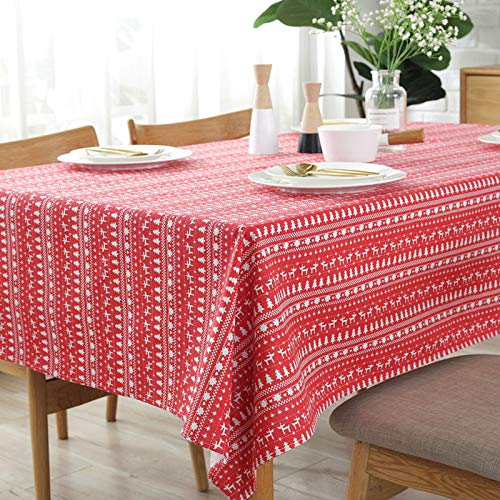 SUZONC Christmas Tablecloth Red Festive Christmas Tree Fawn Cotton Linen Tablecloth Hotel Decoration Cover Towel