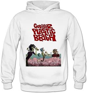 Soulya Women's Gorillaz Plastic Beach Streetwear Hoodies Sweatshirt Size US Ash