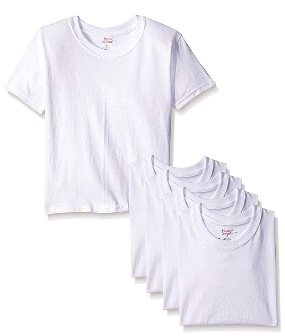 Hanes Boys' 5 Pack Ultimate ComfortSoft Crew (2T/3T (28-33 Lbs)) White