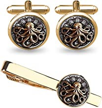 ZUNON Cufflinks Octopus Cufflinks Mens Octopus Silver Handmade Sea Animal Marine Groom Groomsmen Best Man