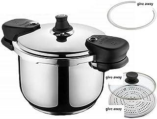 Pressure cooker stainless steel soup pot steamer family restaurant cooking pot induction cooker general pressure cooker kitchen utensils 5.5L-9L (Color : Silver, Size : 7.5L)