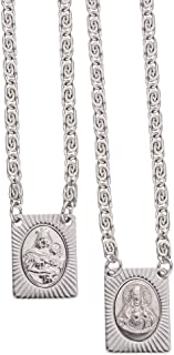 Catholica Shop Sacred Heart of Jesus & Our Lady of Mount Carmel Medals Stainless Steel Scapular Necklace - 14 Inch