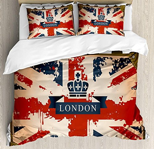 Union Jack Decorative Duvet Cover Set Twin Size, Vintage Travel Suitcase with British Flag London Ribbon and Crown Image, Luxury Flannel Fleece Soft Bedding Sets with Pillow Cases