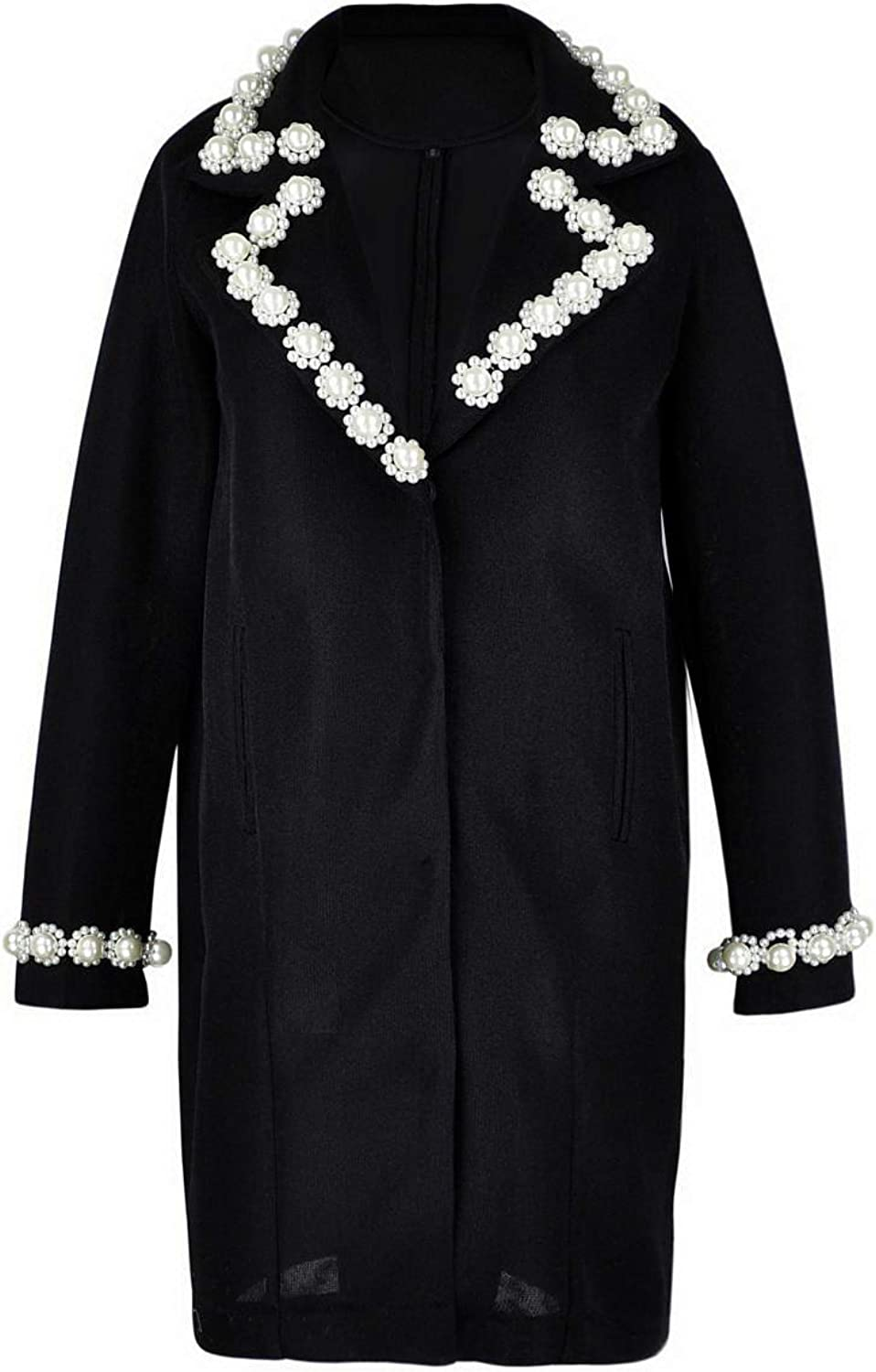 Get The Looks Pearl Embellished MeshScuba Cocoon Coat