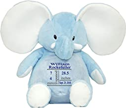 Burton /& Burton 8 Embroidered Personalized Birth Announcement Blue Buddy the Elephant with Name and Birth Stats