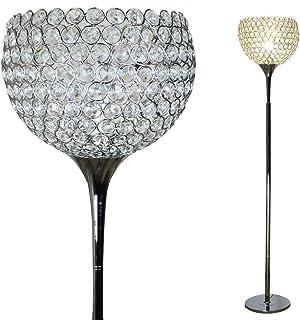 Dellemade Lampadaire en forme de boule en cristal - Métal chromé - Argenté
