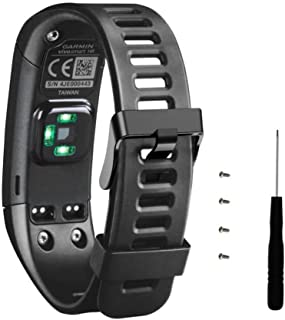 correas para garmin vivosmart hr banda de pulsera de repuesto de silicona suave + herramienta con destornillador para Garmin Vívosmart HR pulsera de actividad con pulsómetro by Sannysis (negro)