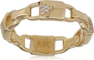 Michael Kors Women Cubic Zirconia Rhodium Gold Plated Ring 7.5 US