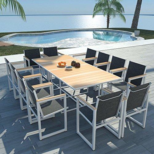 Lechnical Set Comedor de jardín 13 Piezas Comedor Exterior Conjunto de jardín terraza Muebles de jardín Comedor Juego Conjunto de Sillas Aluminio y Superficie Mesa WPC