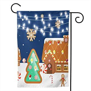 CXQUO Garden Flag Cane House Gingerbread Village Man, Premium Double Sided, Seasonal Spring Summer Outdoor Funny Garden Yard Lawn Decorative Flags, 12.5 X 18.5 Inch