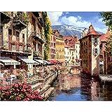 Pintura al óleo por kits de números lienzo paisaje de la ciudad dibujo a color imagen por número adultos decoración del hogar obra de arte sin marco