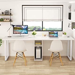 Tribesigns 78'' Computer Desk, Extra Large Two Person Office Desk with Shelf, Double Workstation Desk for Home Office (White)