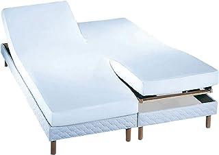 Essix - Drap Housse Royal Line Percale de Coton Blanc 2 x 80 x 200 cm