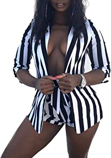 Women's Suits Two Piece Outfits - Sexy 3/4 Sleeve Blazer...