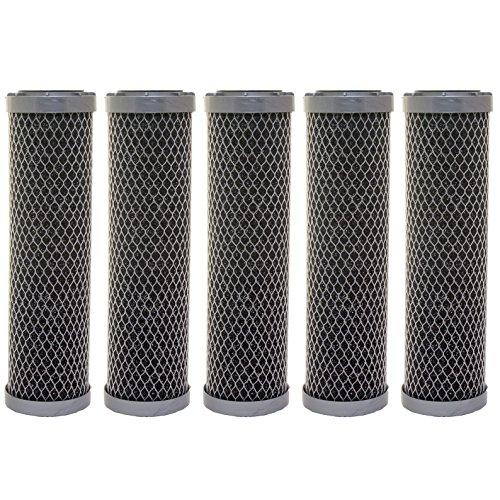 5x Aquafilter 25,4cm bitumenhaltige Aktivkohle Block Wasserfilter zu entfernen Chlor, Geschmack und Geruch, VOC 's für Umkehrosmose, gesamte House, gewerblichen, industriellen Reinigung Systemen