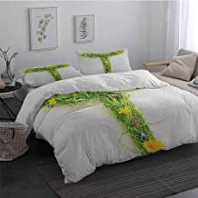 Microfiber Duvet Cover Letter T Capital Letter from Flowers Grass Image Alphabet Font Design Spring Vibes Print Breathable Cooling Multicolor Long Twin