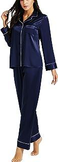 LONXU Conjunto de pijama de satén de seda para mujer, con botones, ropa de dormir XS a 3XL