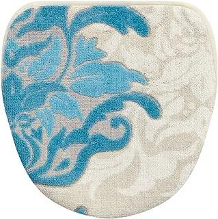 センコー デコールミュゼ サミーラ トイレ ふたカバー ブルー×グレー 吸着シート付マルチタイプ 抗菌 防臭 日本製 31927