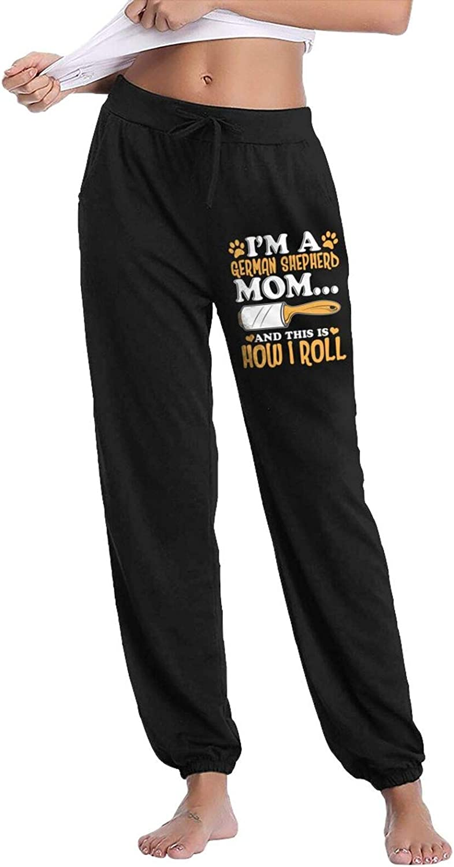 Pkaixin German Shepherd Women's Cotton Long Pants with Pockets Workout Casual Sweatpants Drawstring Waist Jogger