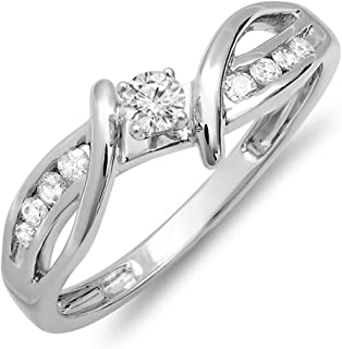 0.26 Carat (ctw) 10K Gold Round Diamond Crossover Split Shank Bridal Promise Engagement Ring 1/4 CT