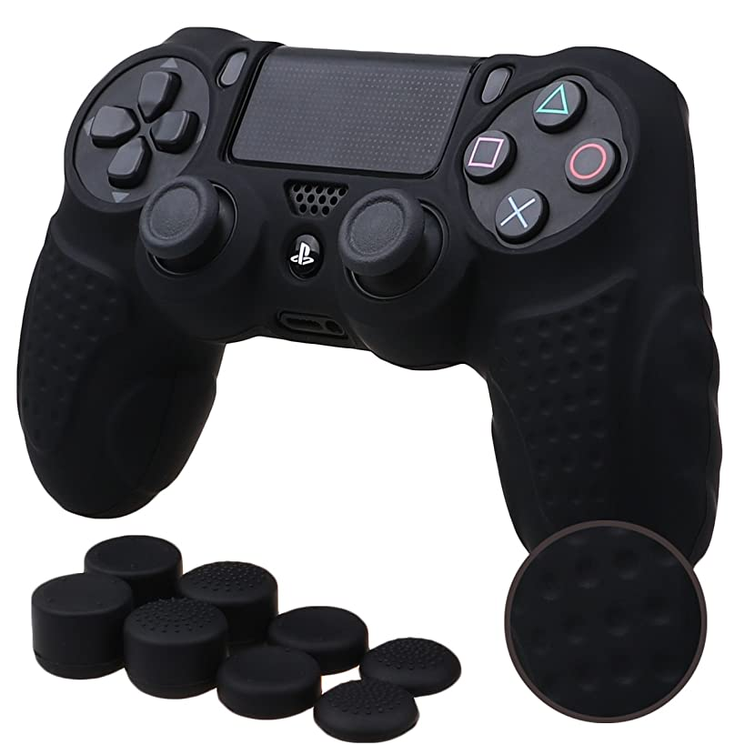 MXRC Silicone GRIP cover skin case anti-slip for PS4/SLIM/PRO controller x 1(black) + FPS PRO extra height thumb grips x 8