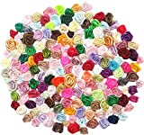 Dandan DIY 200pcs Mix Lots Satin Ribbon Rose Flowers Sewing Craft Ribbon Bows Wedding Decoration