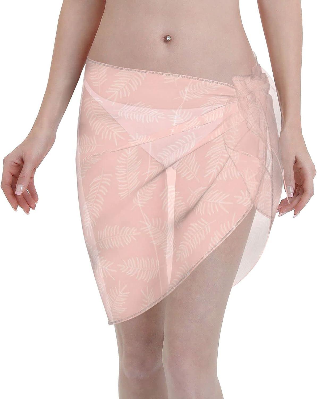 Tiogumg White Leaves Women Short Sarongs Beach Wrap Sheer Bikini Wraps Chiffon Cover Ups for Swimwear