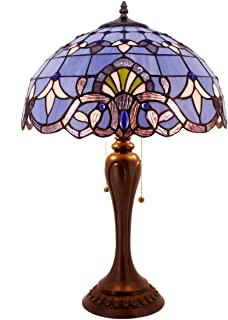 Tiffany Lamp Stained Glass Desk Lamps 24 Inch Tall Blue Purple Lavender Baroque Shade 2 Light Antique Base for Living Room Bedroom Desk Beside Coffee Table Dresser Set S003C WERFACTORY