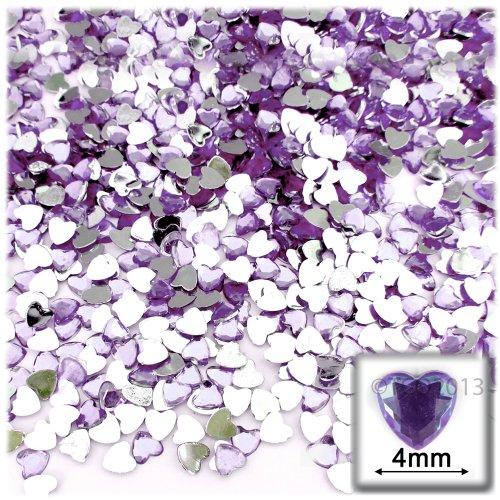 288pc Rhinestones Heart 4mm - Lavender Light Purple or Light Amethyst